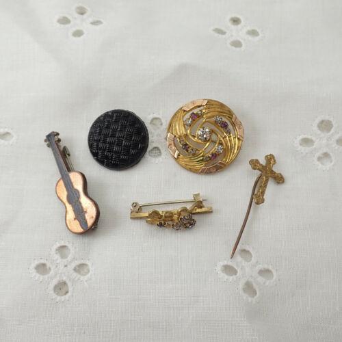Victorian Art Deco Lot of Resin Rhinestone Enamel Miniature Brass Pin Brooches