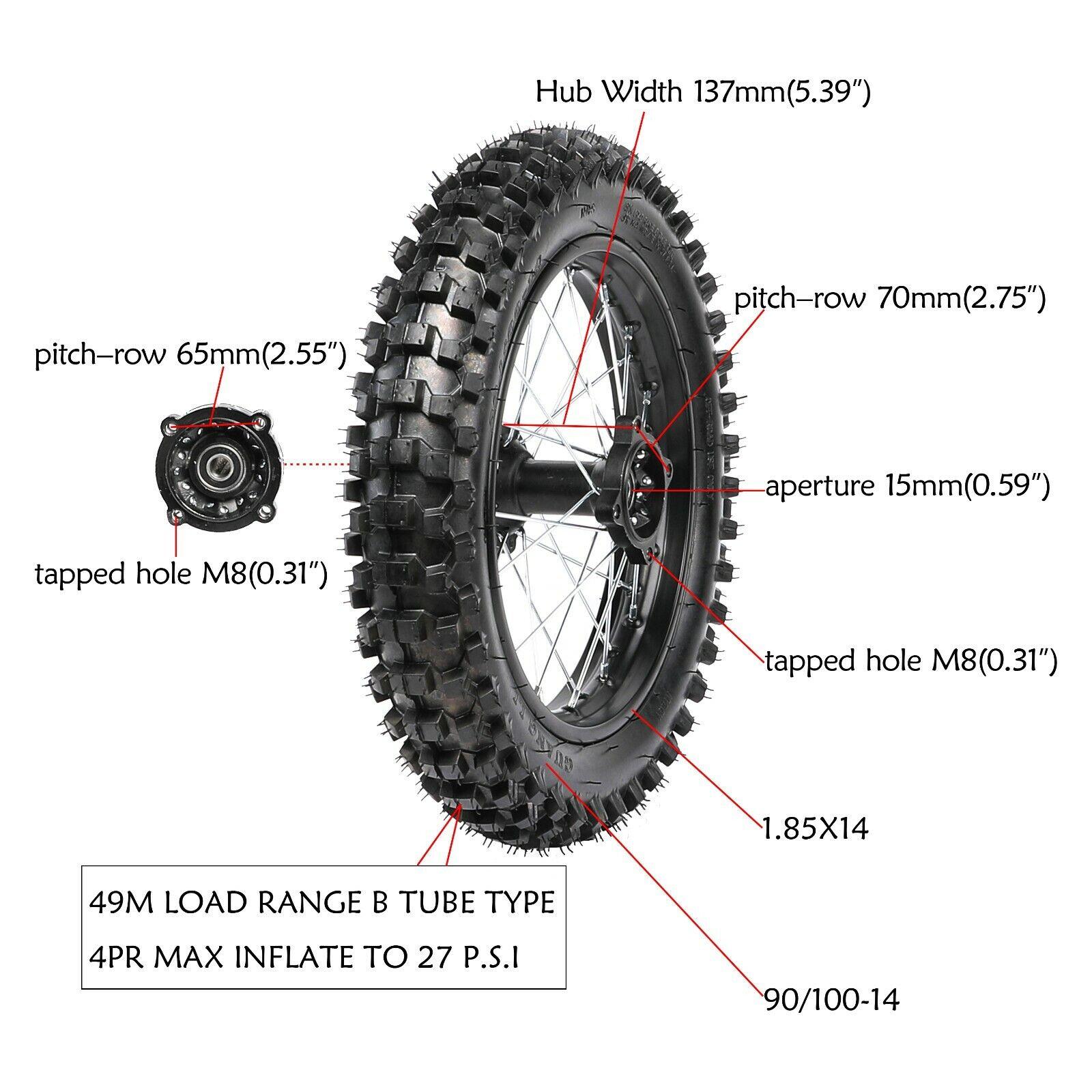 Pit Dirt Bike Motorcycle 15mm Axle 90/100-14 Rear Tire Rim