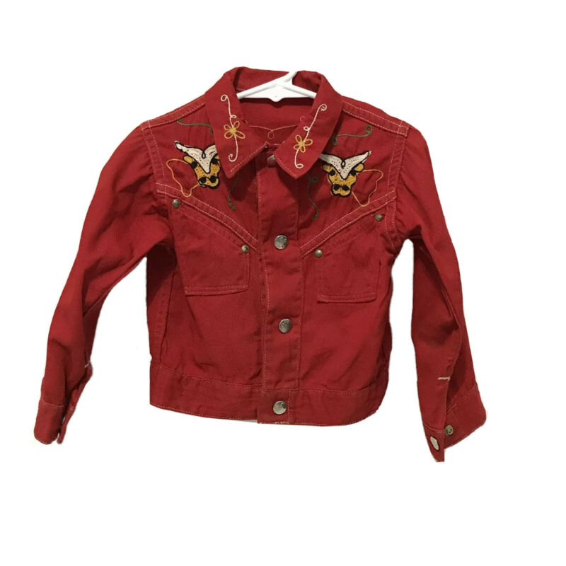 Vintage Western Cowboy Jacket Red Rodeo Bull Embroidered Western Toddler Child