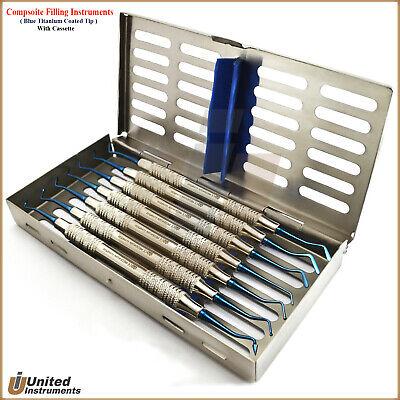 Set Of 7 Composite Dental Filling Instruments Probes Scaler Spatulas Cassette