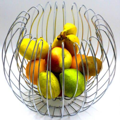DECORAZIONE Cestino Fruttiera cesto di frutta ciotola METALLO ARGENTO NUOVO
