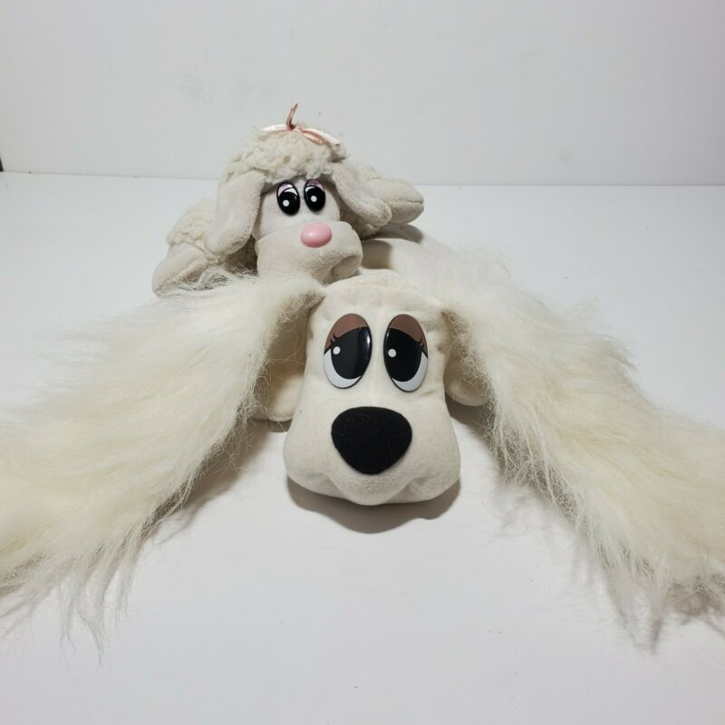 Pound Puppy 1995 plush with long hair ears & small white plush puppy (Tonka)