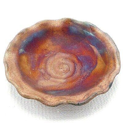 Raku Studio Art Pottery Bowl Dish Fluted Rim Iridescent Copper Blues 6