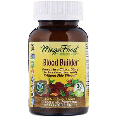 Dairy Free - MegaFood Blood Builder 30 Tablets Dairy-Free, Kosher, Non-GMO, NSF Certified,