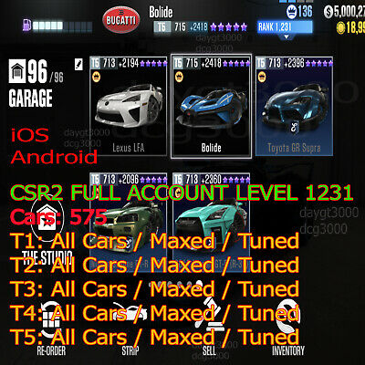 CSR2 Racing - nivel 188 cars 575 ALL NEW CARS MAXED full...
