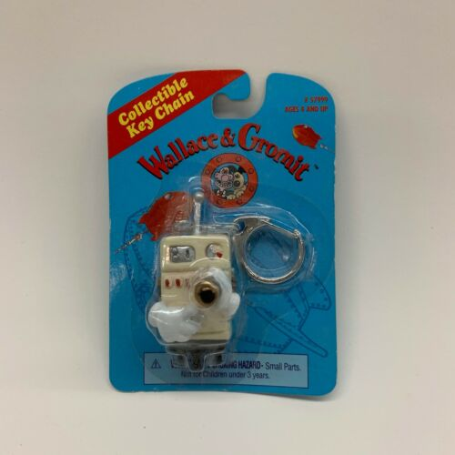 Rare NOS Vintage 1989 Wallace & Gromit Figure Key Chain Ring Cooker Robot