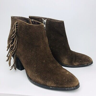 J Crew Brown Suede Fringe Booties Womens Sz 8 Boho Festival Heeled Ankle Boots