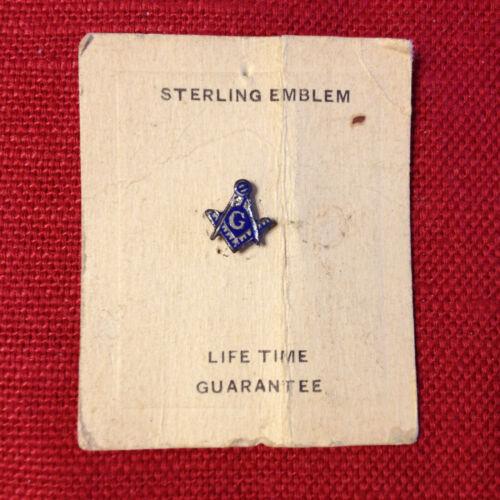 Vintage Tiny Sterling Mason lapel pin - original card