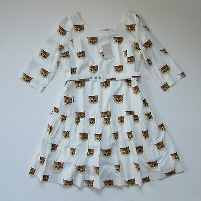 NWT Paul & Joe Sister Christie in Ecru Cat Print Drop Waist Belted Dress 38 / 6