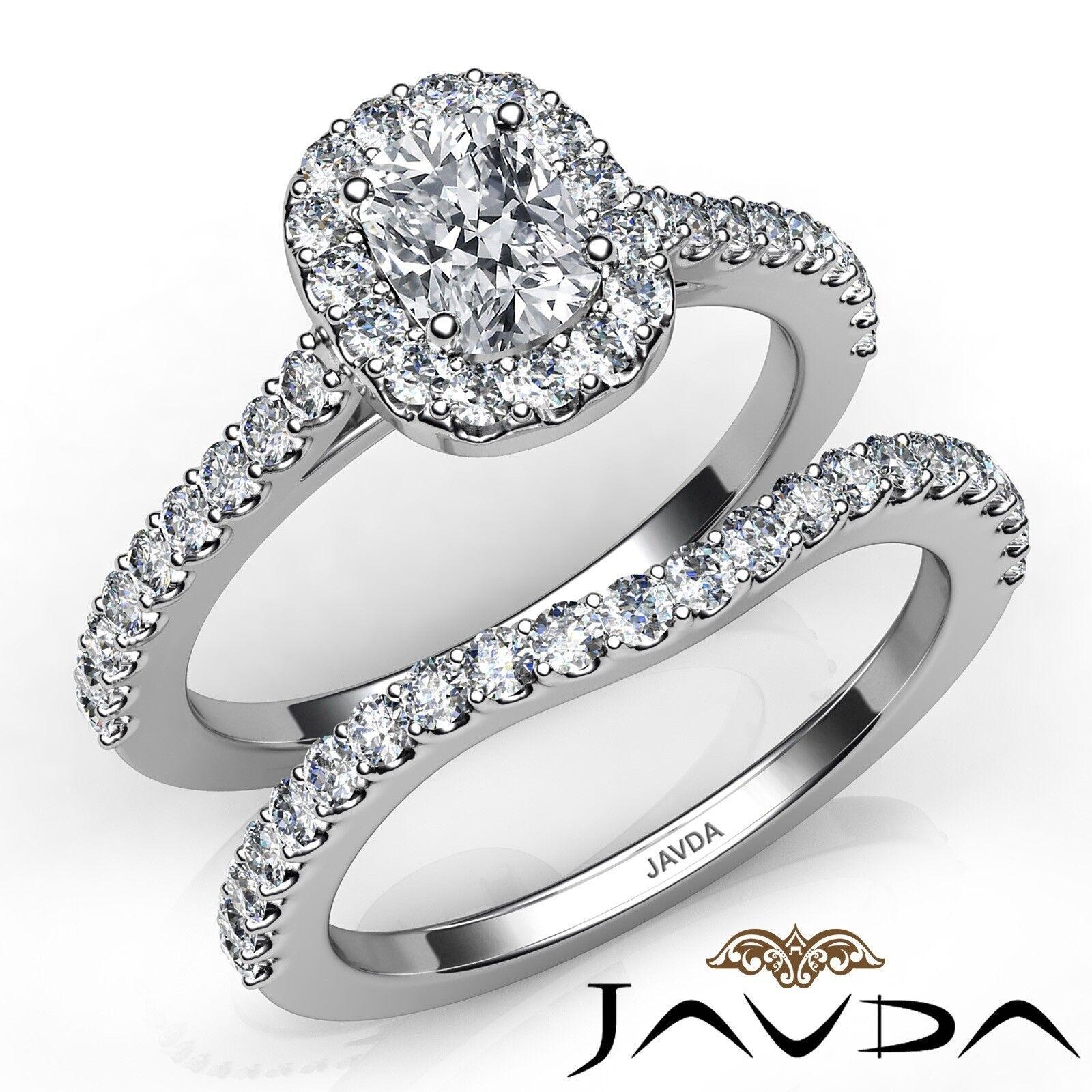1.5ct Halo Pave Side Stone Bridal Cushion Diamond Engagement Ring GIA E-VS2 Gold