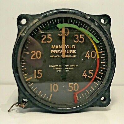 ✈️ Vintage WW2 KOLLSMAN INSTRUMENT MANIFOLD PRESSURE GAUGE Part No. 298H-01-2147