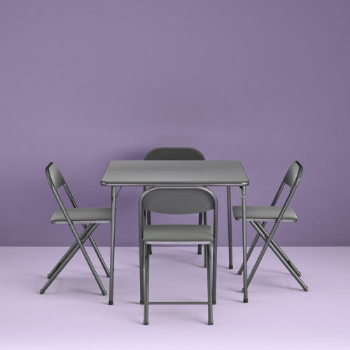 5 Piece Card Table & Chair Set 4 Padded Chairs Folding Portable Square Black