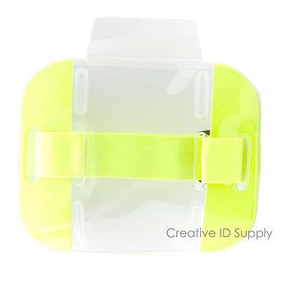 25 Pcs Reflective Yellow Arm Band Photo Id Badge Holder Vertical W Elastic Band