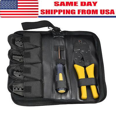 4 In 1 Insulated Cable Connectors Terminal Ratchet Tool Wire Crimper Pliers