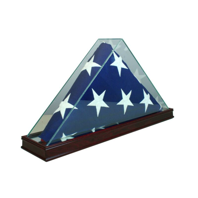 REAL GLASS CHERRY WOOD 5 x 9.5 FLAG DISPLAY CASE Burial Funeral Military Veteran