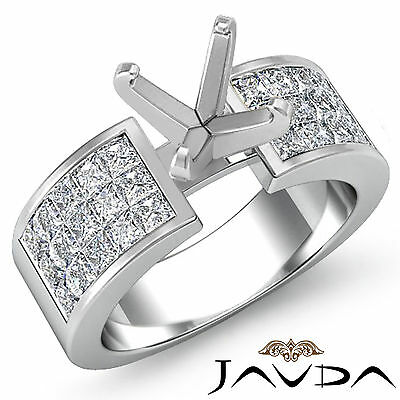 (Princess Invisible Fine Diamond Engagement Ring Platinum 950 Semi Mount 1.29Ct)