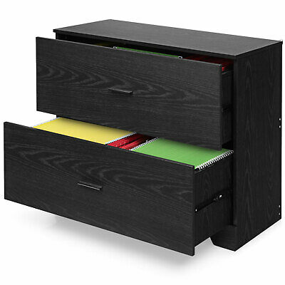 Costway 2-drawer Lateral File Cabinet Wadjustable Bars For Home Office Black