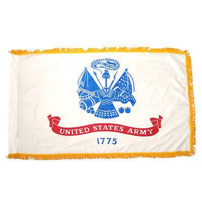 3x5 U.S. Army Emblem Nylon Sleeve with Gold Fringe Flag 3'x5' Heavy Duty