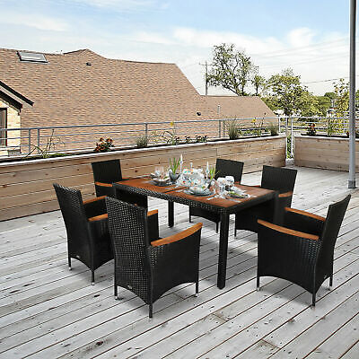 7 Piece Outdoor Patio Furniture Set Wicker Dining Table and 6 Chairs Clearance