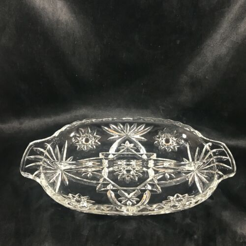 Vintage Anchor Hocking EAPG Clear Glass Tab Handle Divided Dish