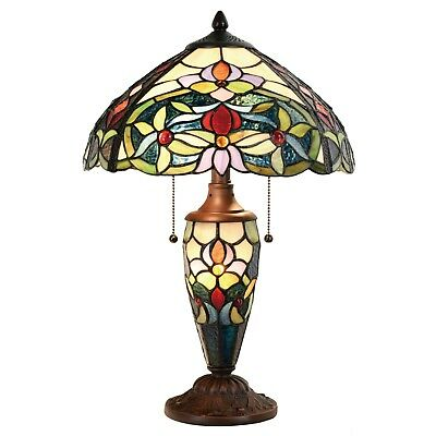 Tiffany Style Table Lamp Floral Victorian Twin Lit Glass Desk Lamp Home Decor