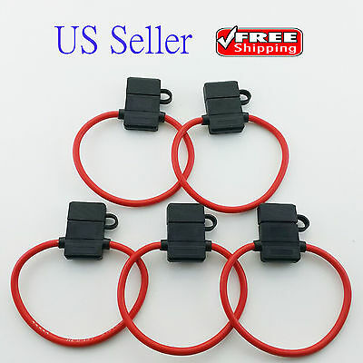 12 Gauge Fuse Holder (5 PACK 10 GAUGE ATC FUSE HOLDER IN-LINE AWG WIRE COPPER 12 VOLT POWER)