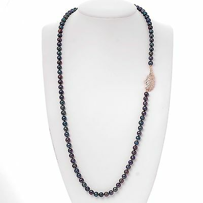 LUXUS Black Akoya Perlenkette Engelsflügel Roségold plattiert (BPL6) 90cm lang  (Lange Schwarze Engel Flügel)