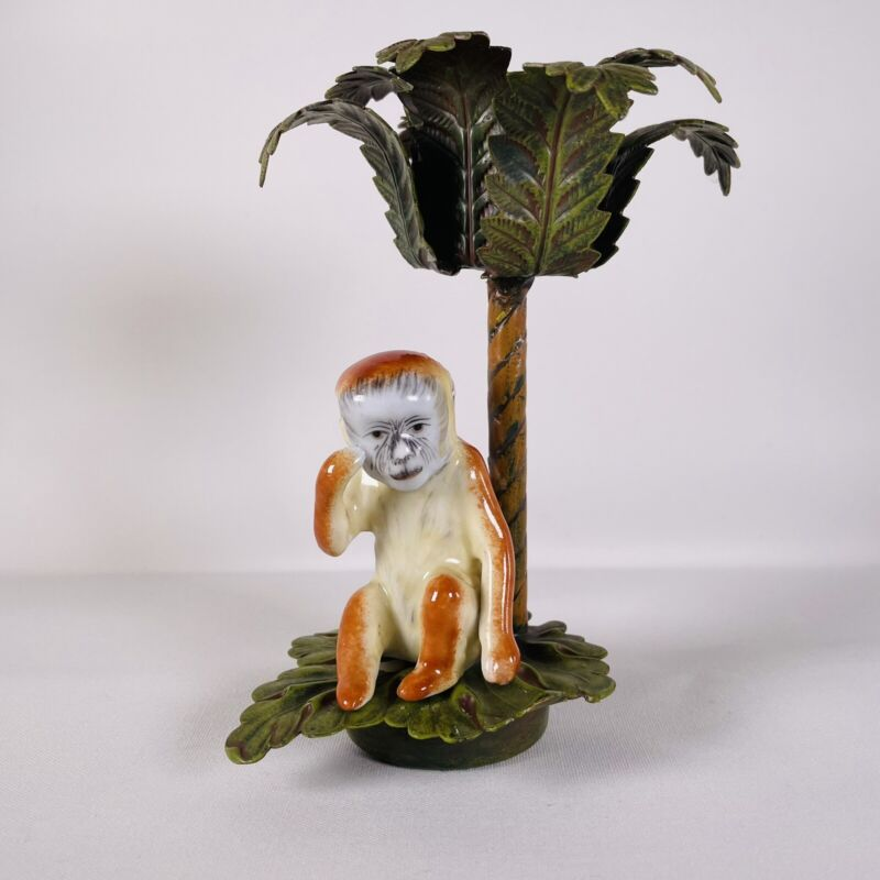 Petite Choses Monkey Under The Palm Tree Candle Stick Ceramic Cast Iron or Brass