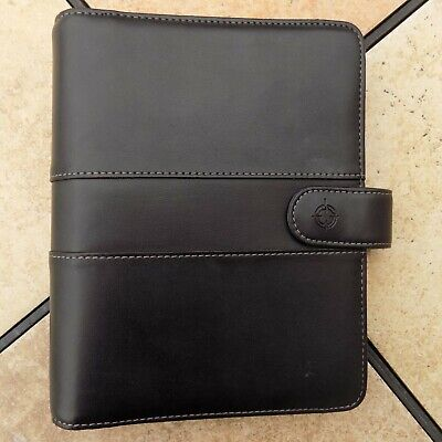 Franklin Covey Black Leather Binder Planner Organizer Snap Close
