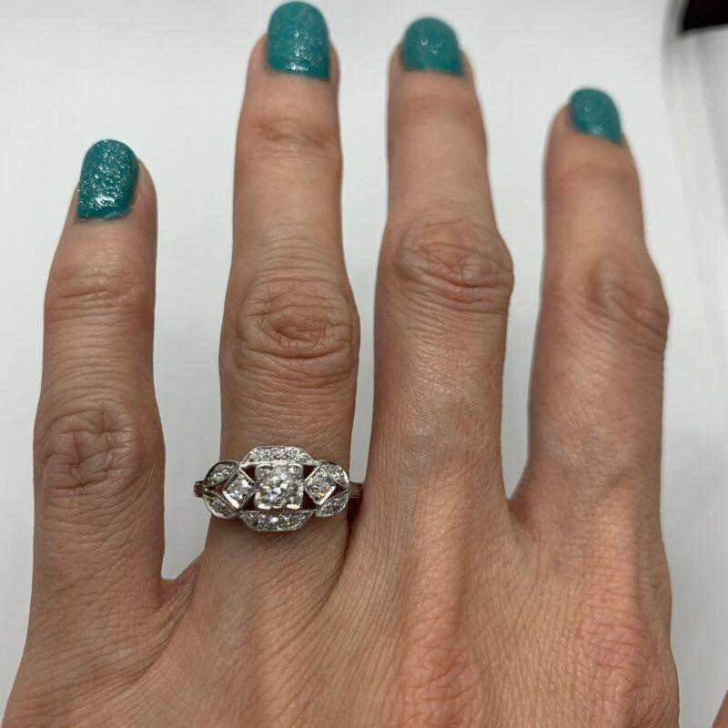 Antique Art Deco platinum diamond ring old European cut geometric square classic