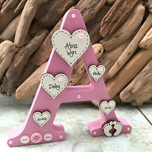 Personalised Freestanding Wooden Letter New Baby Girl Boy Christening Keepsake