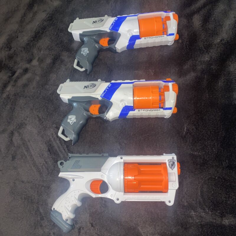 Lot of 3 NERF Strongarm/Maverick Rev-6 Dart Guns With Darts In Good Condition