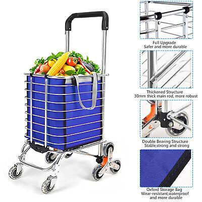 60l Folding Shopping Cart Jumbo Basket Grocery Laundry Travel Wswivel 3 Wheels