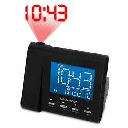 Magnasonic Projection Alarm Clock Radio with Battery Backup & Dual Alarm