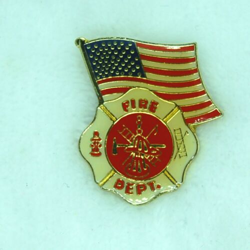 Vtg Fire Department Fire Fighter Flag Lapel Hat Pin