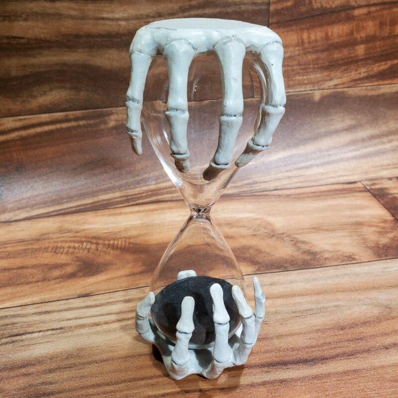 "SKELETON HANDS HOURGLASS kitchen collectible Halloween Decoration Horror 7.5"""