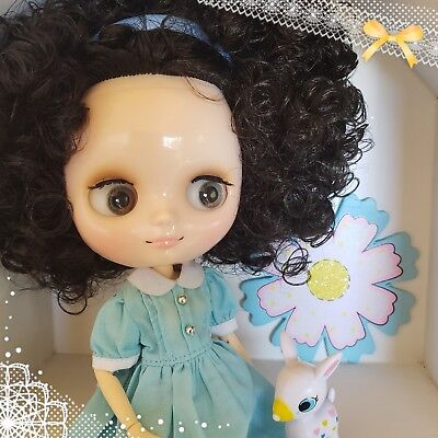 Nude Factory Type Middie Blythe Doll - Dark Brown Black Hair - Jointed