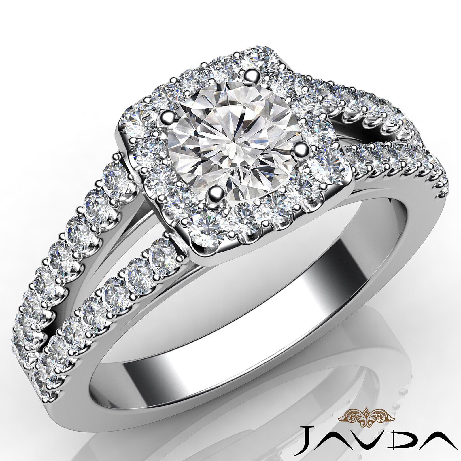 U Cut Prong Split Shank Halo Diamond Engagement Ring U Pave Set GIA SI1 1 1/4Ct