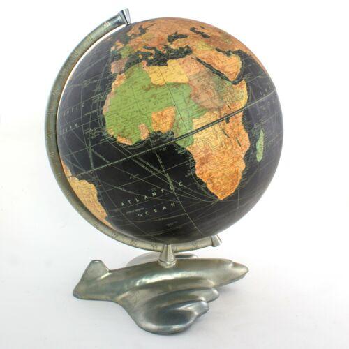 "12"" antique table terrestrial globe WEBER COSTELLO PLANE BASE black globe 1950"