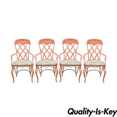 Set 4 Vintage French Regency Style Wrought Iron Patio Sunroom Dining Arm Chairs