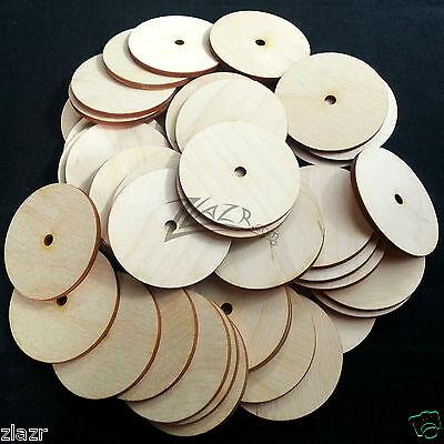 "50 2""x1/8"" Wooden Circle Disc Craft Board 1 Center Washer Hole Hard wood Donut"