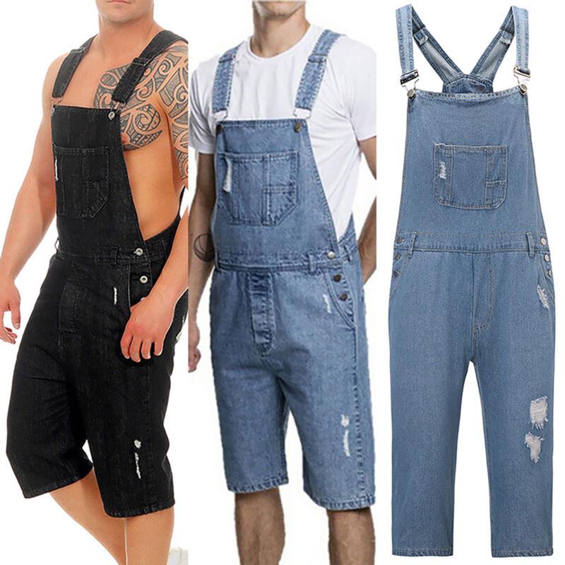 Men Slim Fit Bib Overalls Shorts Pant Jumpsuit Romper Skinny