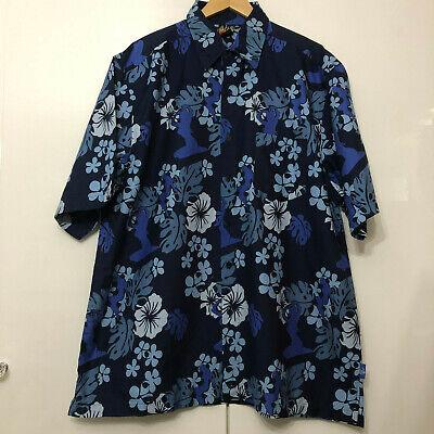 Vintage Hawaiian Style Shirt Classic Retro Blue Extra Extra Large XXL