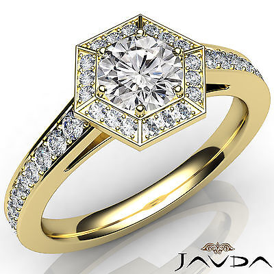Hexagon Cut Halo Round Diamond Pave Set Engagement Ring GIA Certified E SI1 1Ct