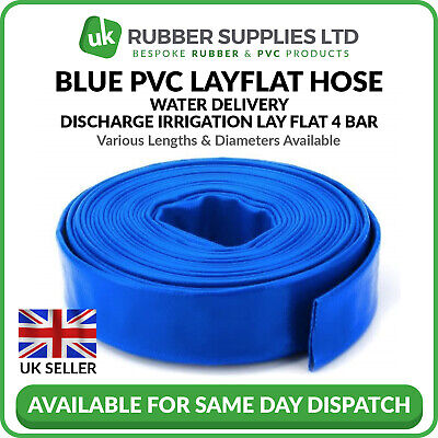 Blue Pvc Layflat Discharge Hose (Blue PVC Layflat Hose Water Discharge Pump Delivery Pipe 4 BAR 1