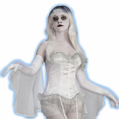 Ghost Costumes For Adults (Sexy White Ghost Spirit Corset for Halloween Costume Adult Ladies)