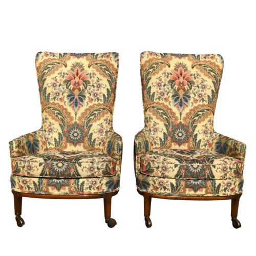 Vintage Boho Chic Floral Wing Back Accent Club Chairs - A Pair