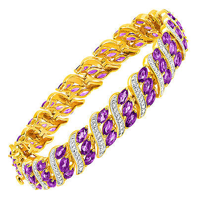 7 3/4 ct Natural Amethyst Bracelet with Diamonds in 18K Gold-Plated Brass