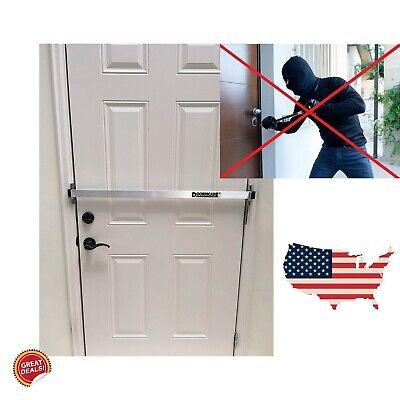 Door Security Bar Barricade Brackets Kit Set Home System Heavy Duty Anti Theft