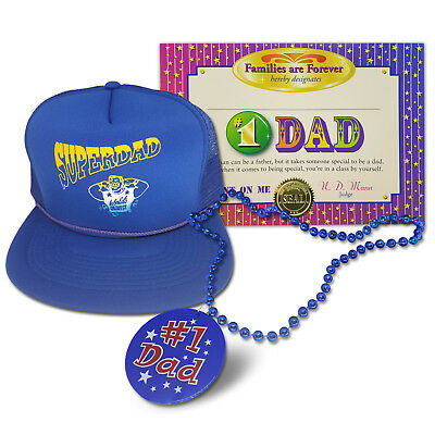 Gifts for Dad: Super Hero Dad Hat w/ #1 Best Dad Necklace & Certificate /